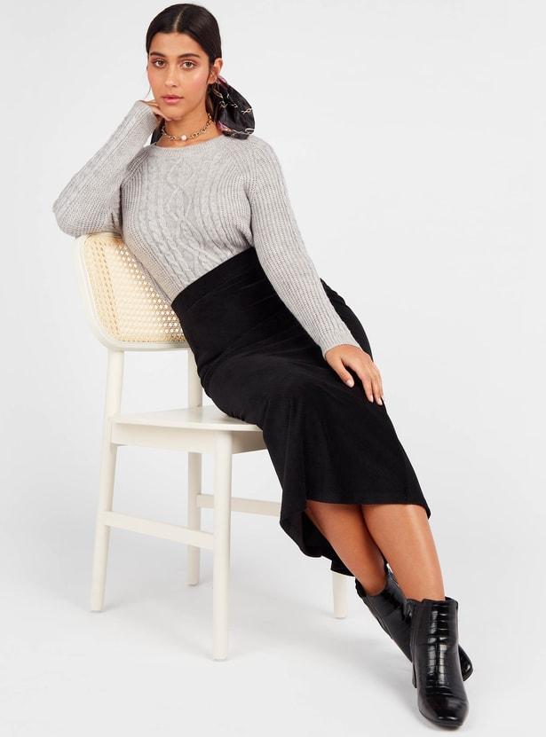 Corduroy Textured A-line Midi Skirt with Elasticated Waistband