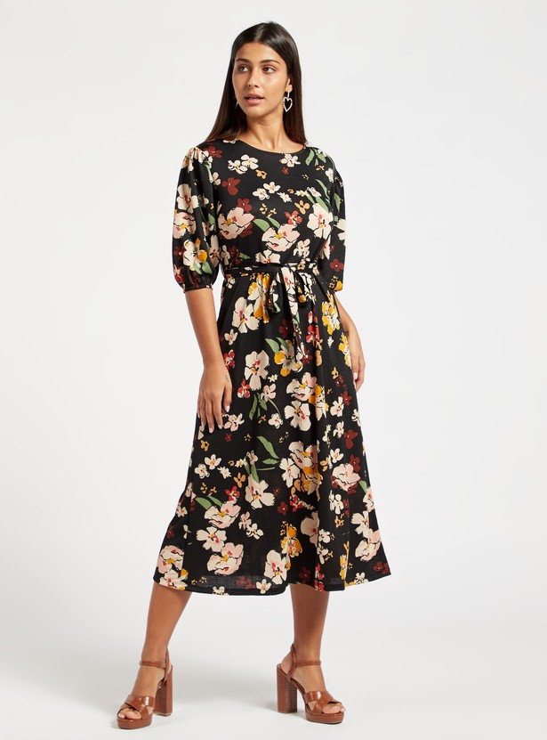 Floral Print Midi Belted Dress with 3/4 Sleeves and Tie-Ups