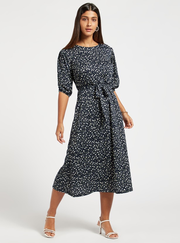 Floral Print Midi Belted Dress with Puffed 3/4 Sleeves