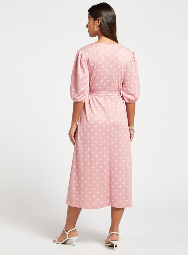 All-Over Polka Dots Print Midi Dress with Puffed 3/4 Sleeves