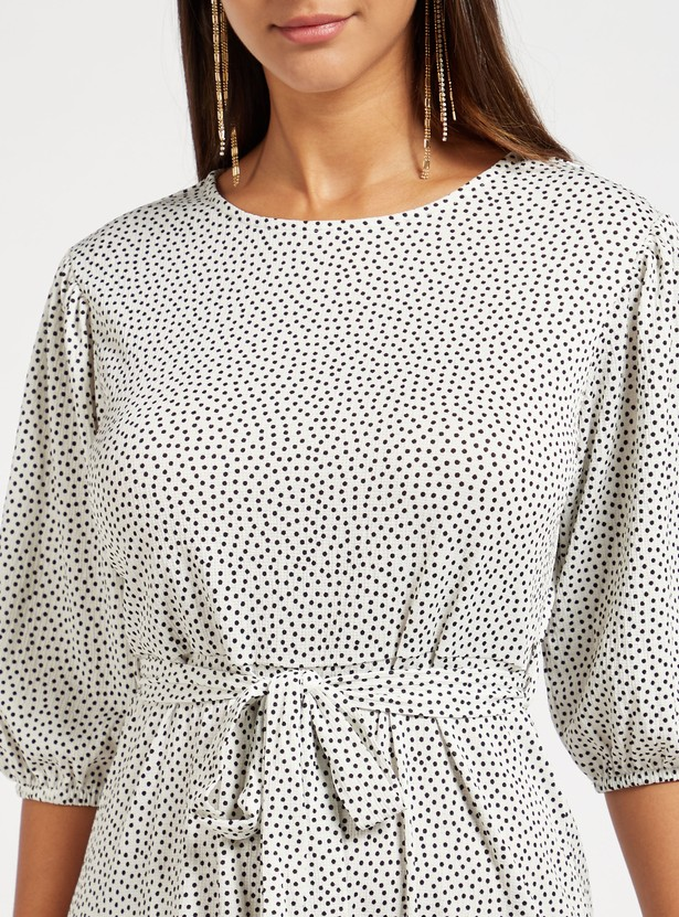 Polka Dots Print Midi Belted Dress with Puffed 3/4 Sleeves