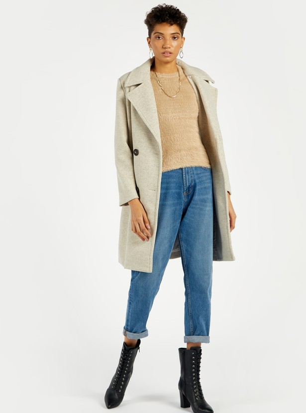 Solid Cozy Fur Top with Round Neck and Elbow Length Sleeves