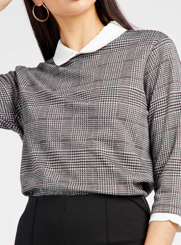 Checked Top with Contrast Peter Pan Collar and 3/4 Sleeves