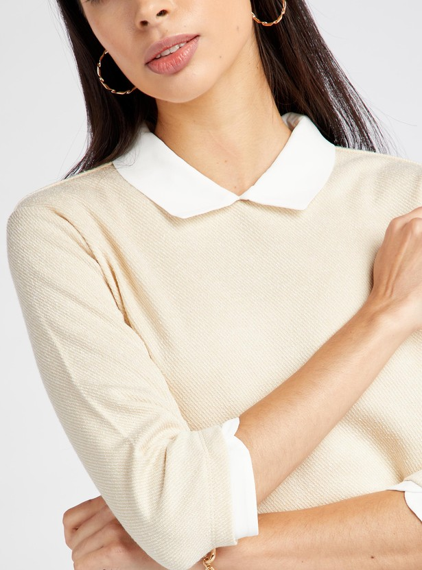 Textured Top with Spread Collar and 3/4 Sleeves