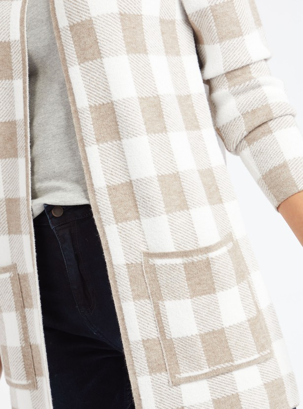 Checked Cardigan with Long Sleeves and Patch Pockets