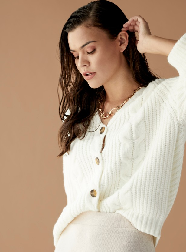 Knitted V-neck Sweater with Long Sleeves and Button Front Closure