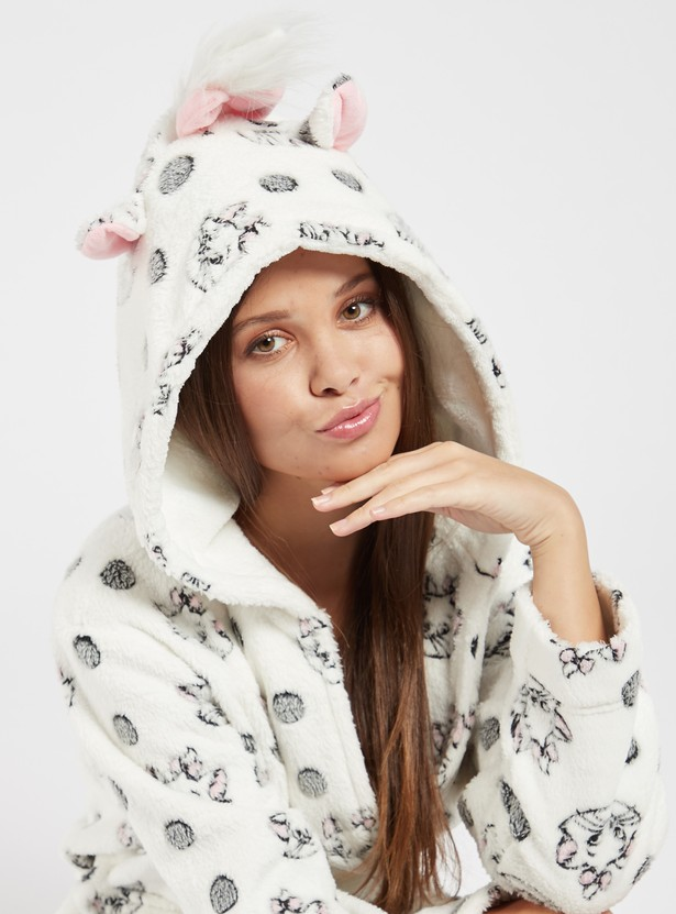 Cozy Collection Applique Detail Robe with Long Sleeves and Tie-Ups