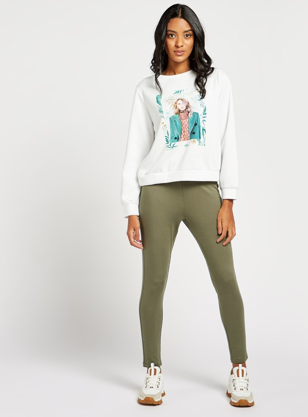 Graphic Print Sweat Top with Round Neck and Long Sleeves