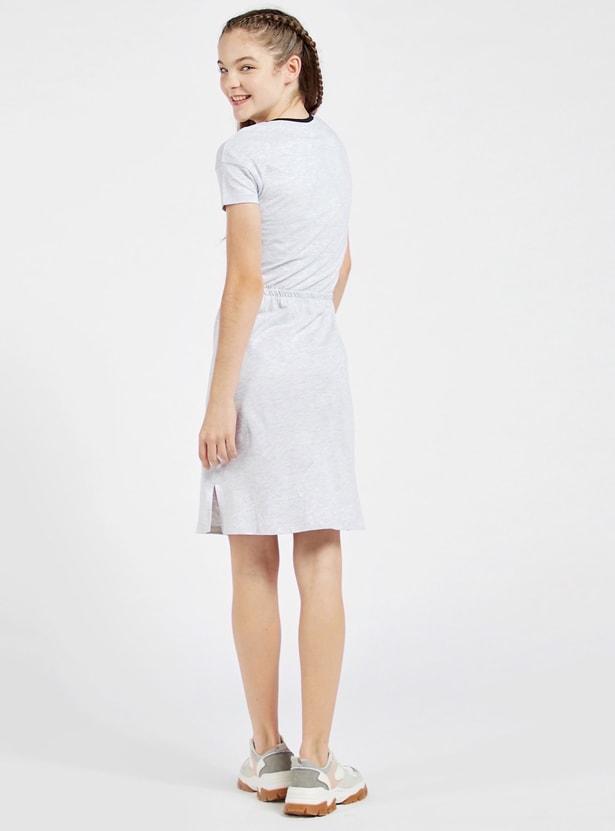 JoJo Siwa Print Round Neck Dress with Short Sleeves