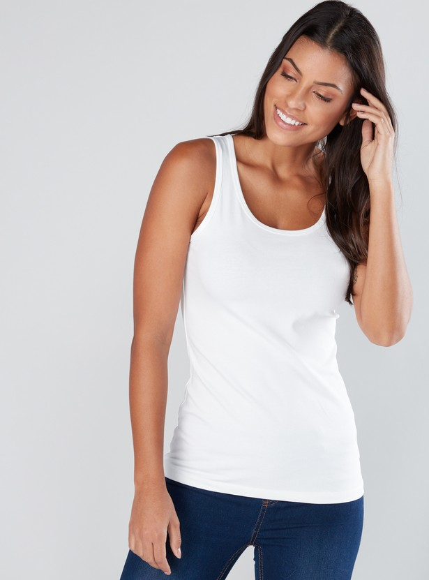 Sleeveless Top with Scoop Neck