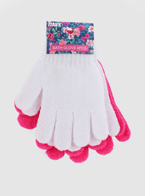 Textured 4-Piece Bath Glove Set