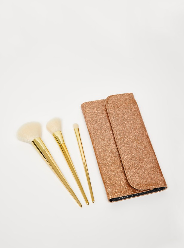 3-Piece Make Up Brush with Pouch Set