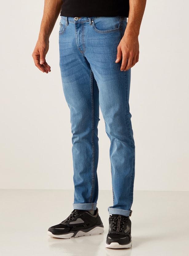 بنطلون جينز طويل بزر إغلاق وجيوب