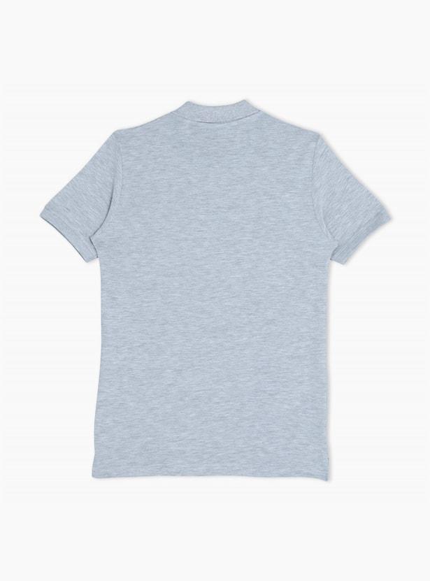Polo Neck Short Sleeves Melange T-Shirt