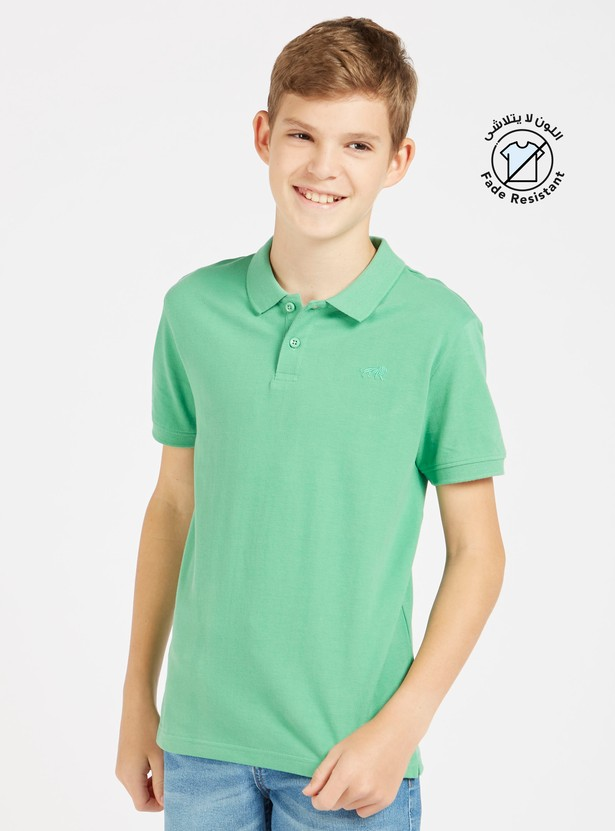 Solid Polo T-shirt with Collar and Short Sleeves
