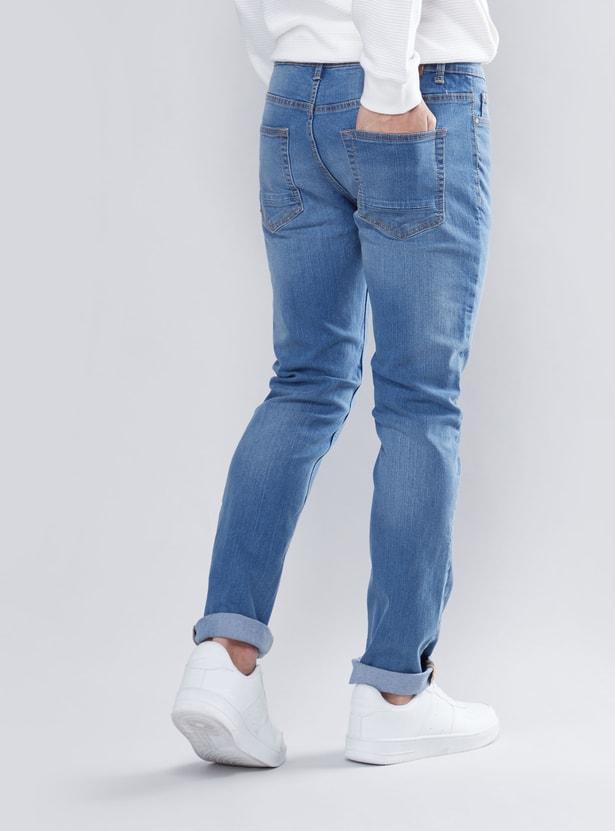 بنطلون جينز سادة سليم بخصر متوسط الارتفاع وتفاصيل جيوب