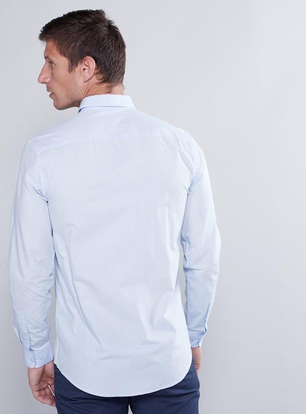 قميص سليم سادة بأكمام طويلة وجيب خارجي