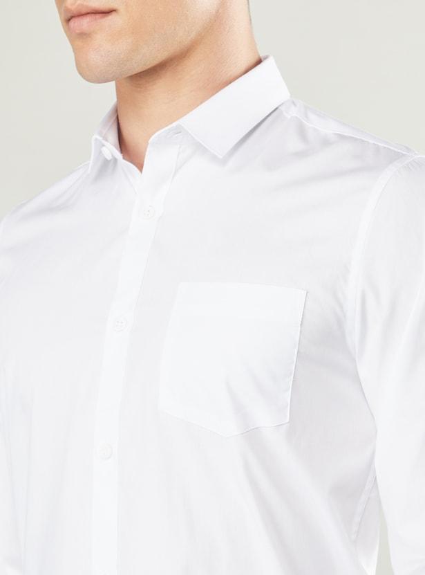 قميص سادة بأكمام طويلة و تفاصيل جيب