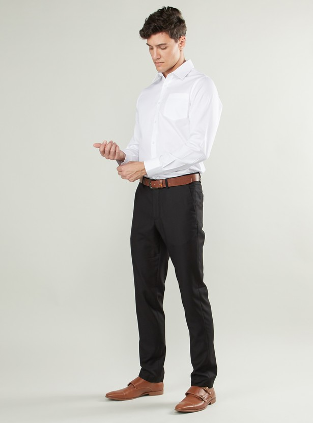 Slim Fit Solid Collared Shirt with Patch Pocket