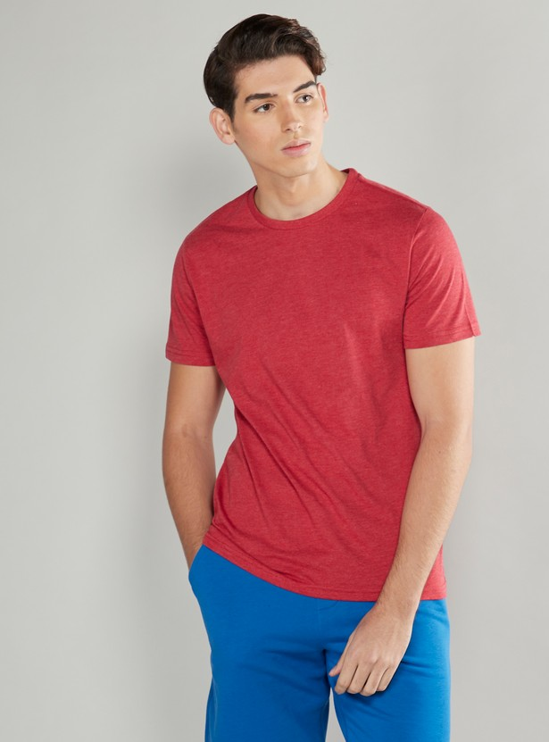 Solid Round Neck T-shirt with Short Sleeves