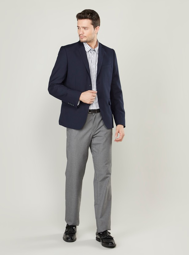 Plain Jacket with Long Sleeves and Spread Collar