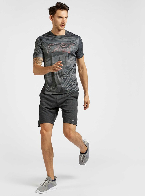 Camouflage Print Crew Neck T-shirt with Short Sleeves
