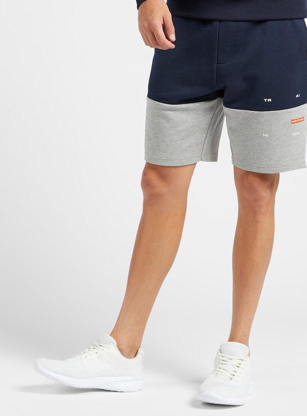 Panel Blocked Shorts with Pocket Detail and Drawstring Closure