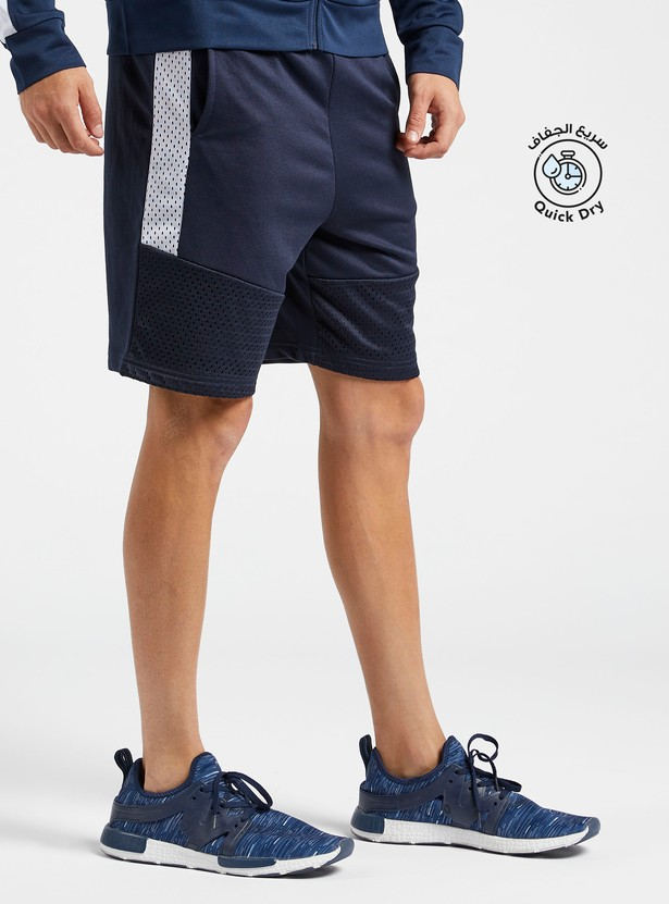 Solid Shorts with Side Panel Detail and Pockets