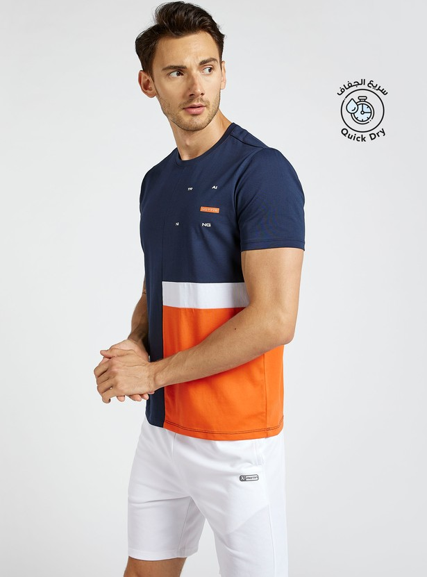 Colourblocked Crew Neck T-shirt with Short Sleeves