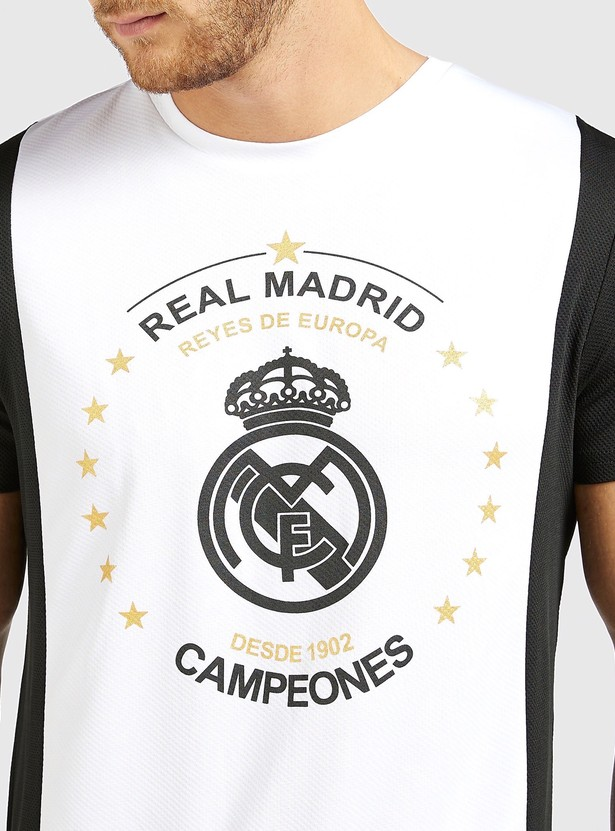 Real Madrid Print Panel Detail T-shirt with Short Sleeves