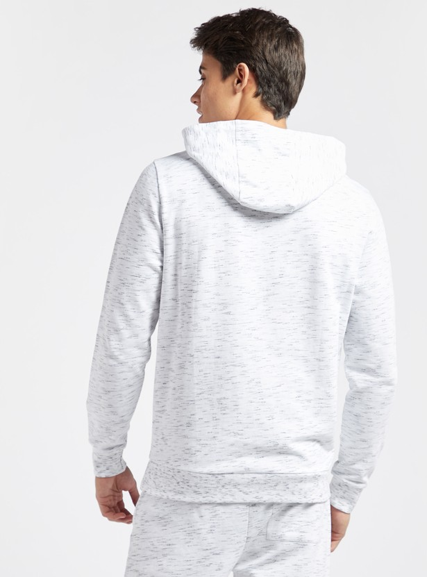 Space-Dyed Printed Hoodie with Long Sleeves and Elasticised Cuff