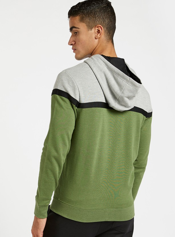 Panelled Zip Through Hoodie with Pockets and Long Sleeves