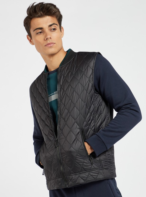 Quilted Sleeveless Bomber Jacket with Pocket Detail
