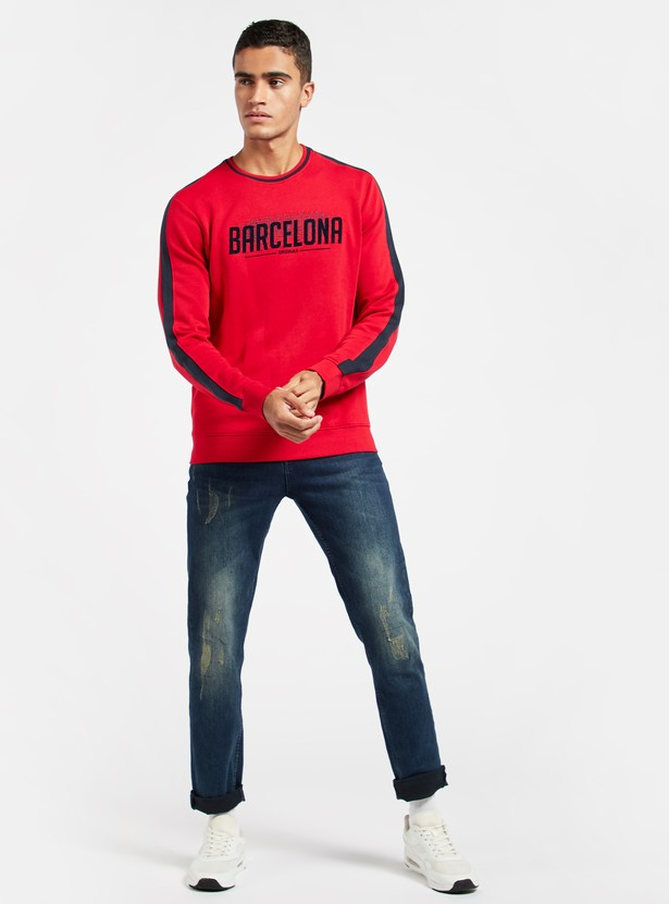 Embroidered Detail Sweatshirt with Crew Neck and Long Sleeves