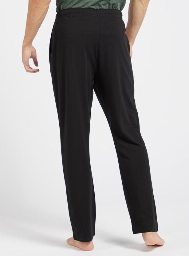 Solid Knit Pyjamas with Pocket Detail and Drawstring Closure