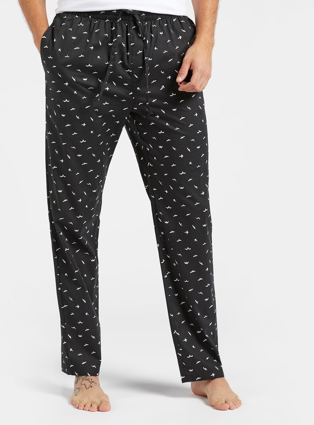 All-Over Print Pyjamas with Pocket Detail and Drawstring Closure