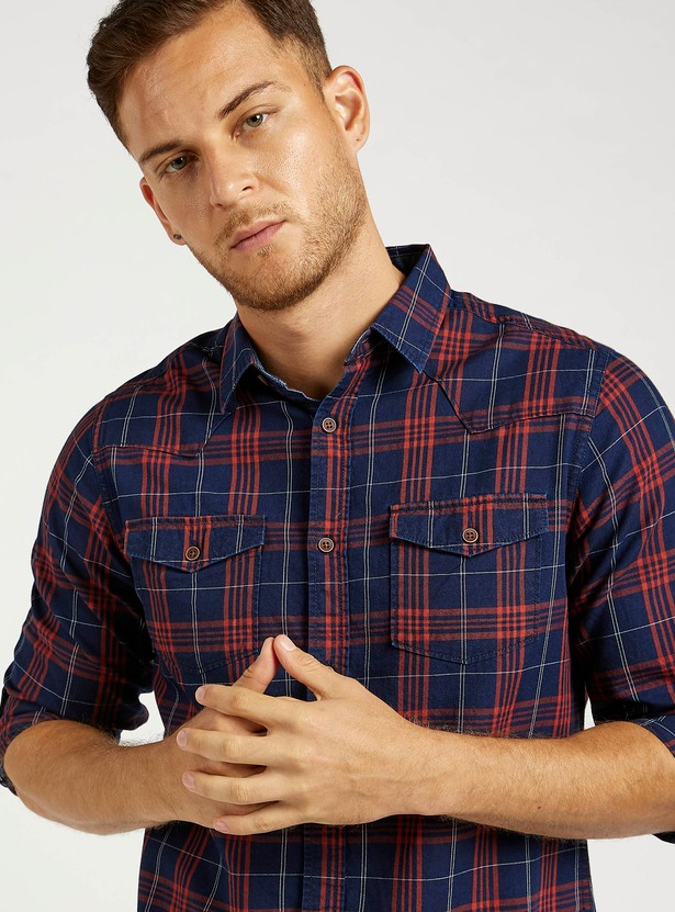 Checked Shirt with Spread Collar and Long Sleeves