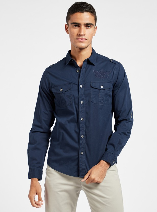Slim Fit Solid Shirt with Spread Collar and Long Sleeves