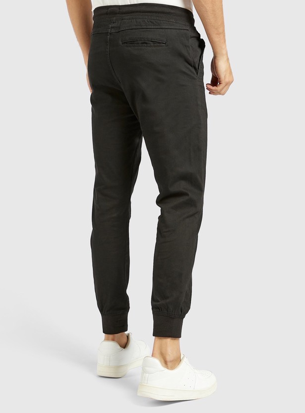 Solid Mid-Rise Jog Pants with Pockets and Drawstring Closure