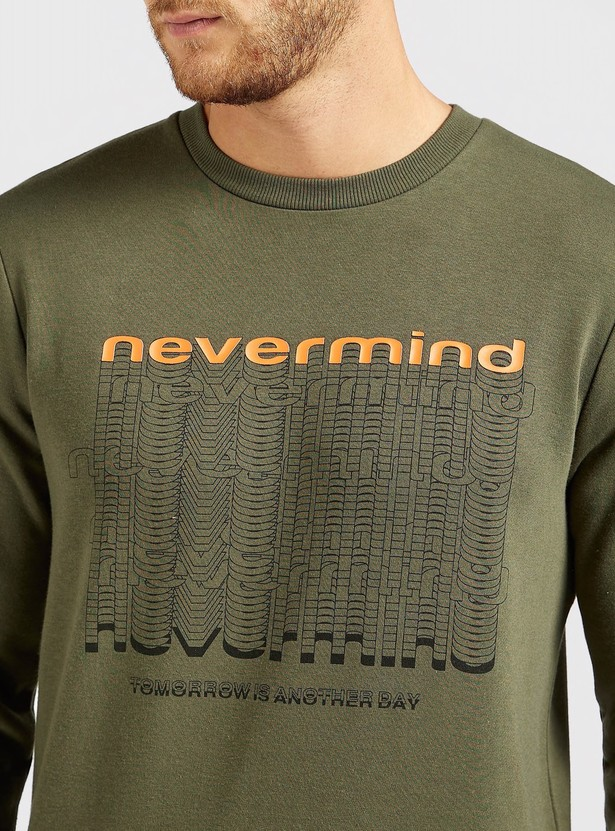 Slim Fit Typographic Print Sweatshirt with Crew Neck and Long Sleeves