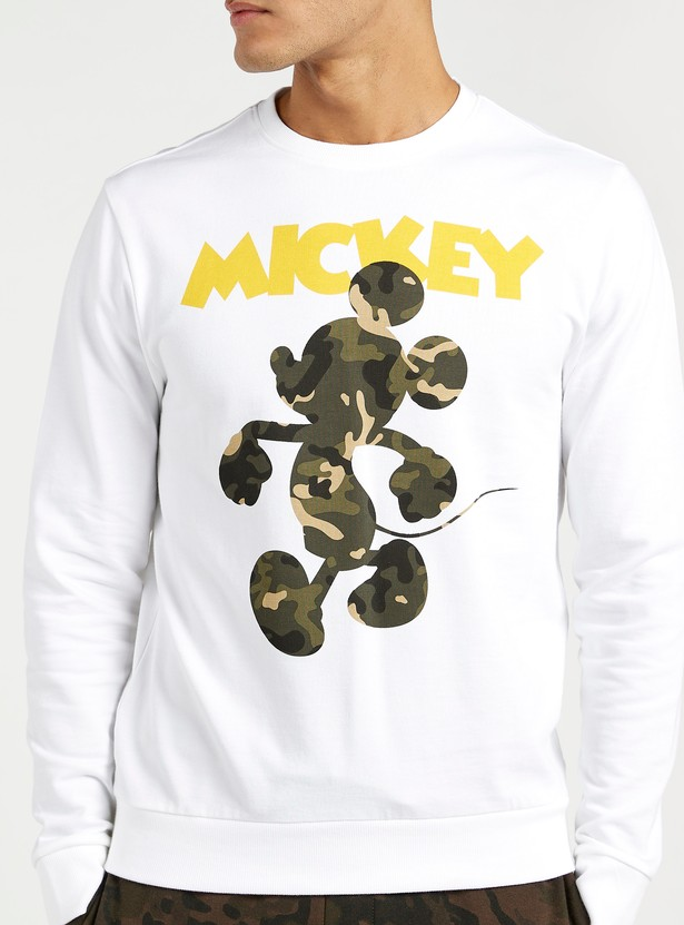 Mickey Mouse Print Round Neck Sweatshirt with Long Sleeves