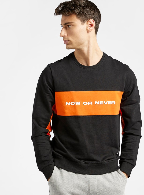 Slim Fit Panel Block Sweatshirt with Crew Neck and Long Sleeves