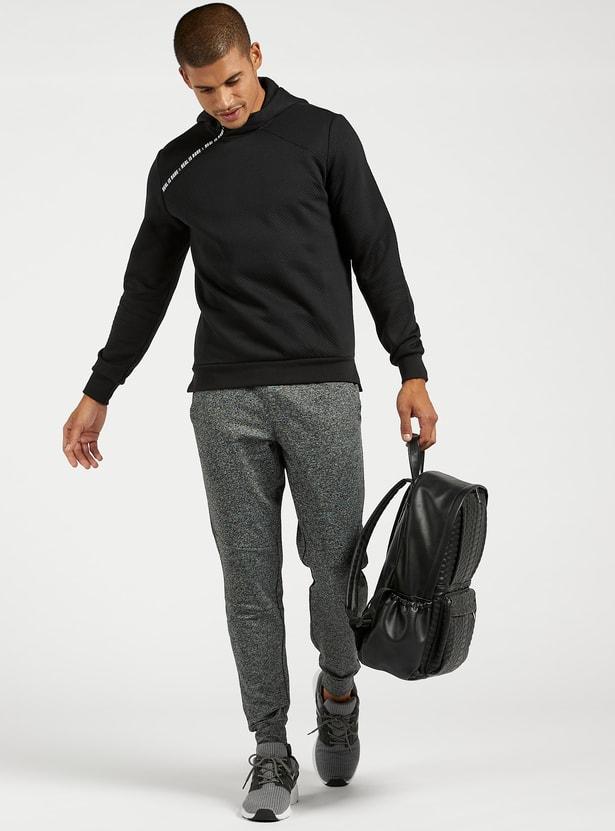 Slim Fit Printed Hoodie with Long Sleeves and Zip Closure