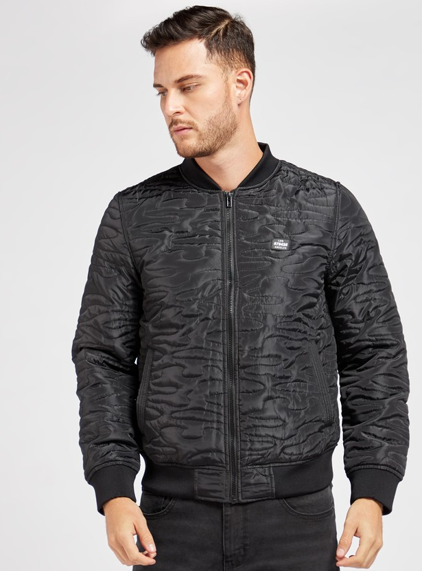 Quilted Bomber Jacket with Long Sleeves and Pockets