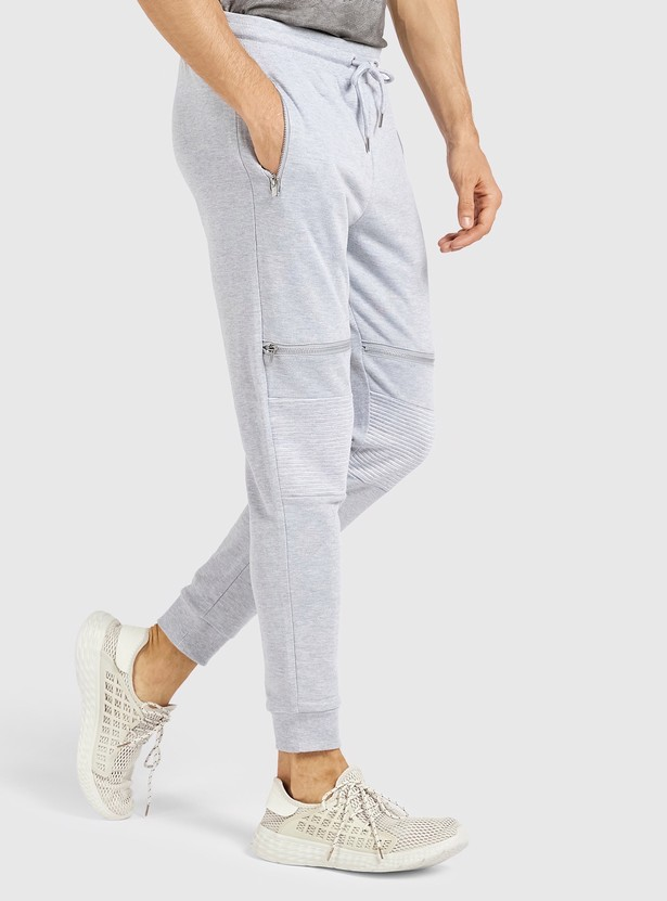 Textured Full Length Mid Rise Joggers with Drawstring Closure