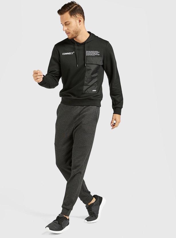 Printed Utility Hoodie with Long Sleeves and Flap Pocket