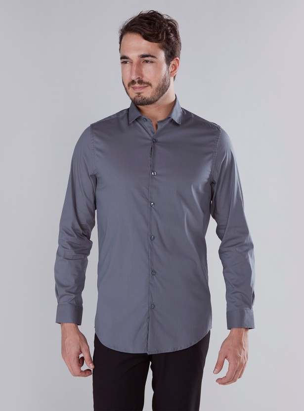 Solid Formal Shirt with Long Sleeves and Collar