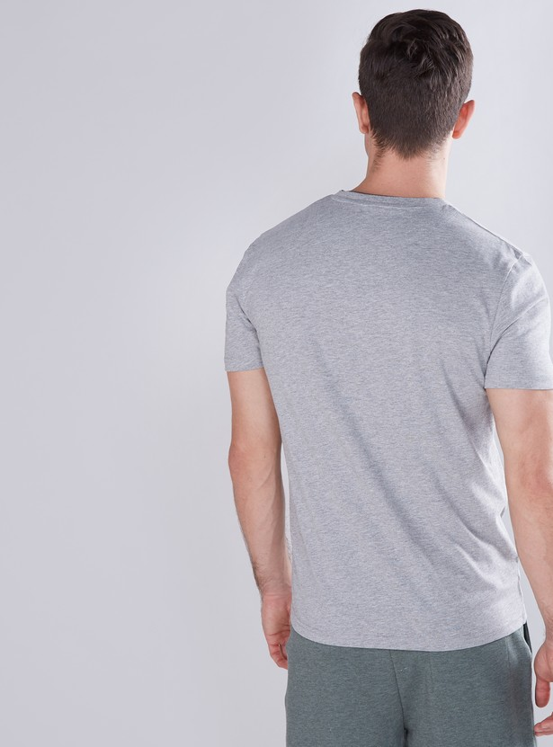 Button Detail V-Neck T-Shirt with Short Sleeves