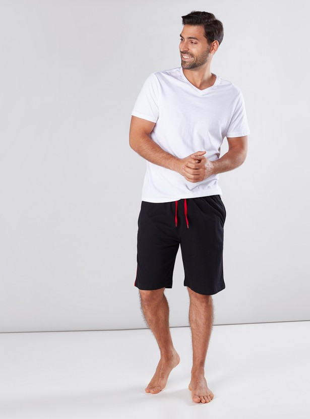 Piping and Pocket Detail Shorts with Drawstring