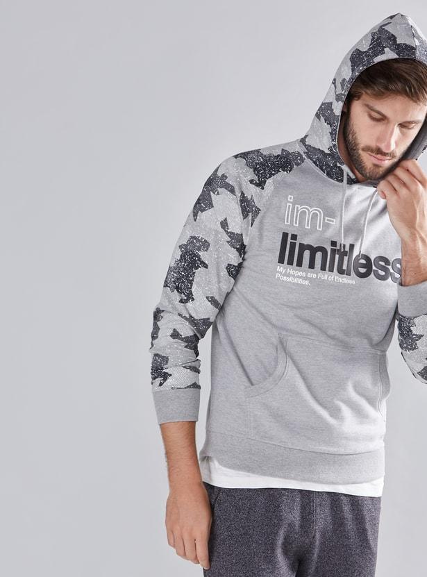 Graphic Printed Sweatshirt with Raglan Sleeves and Hood